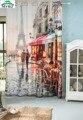 3D акварель печати шторы затемнения curtian Эйфелева Башня ретро кафе занавес гостиная спальня шторы занавес