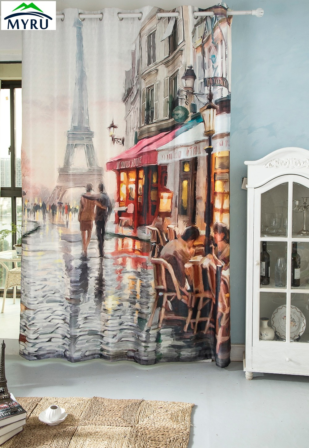 extraordinary cafe curtain living room   MYRU 3D watercolor printing blackout curtains Eiffel Tower ...