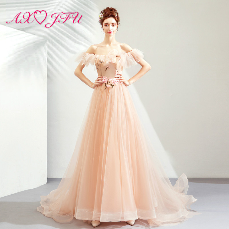 AXJFU princess pink lace flower   Evening     Dresses   luxury vintage boat neck illusion beading flower   evening     dress   7116