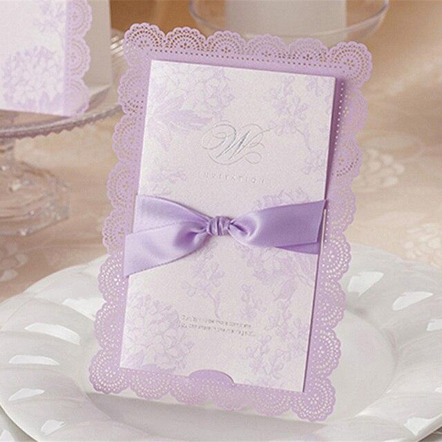Floral Wedding Card Manufacturer From Hosur: Aliexpress.com : Buy 10pcs/set Purple Lace Flower Laser