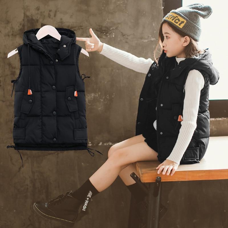 Girls Hooded Jackets 2018 Fashion Teenager Sleeveless Kids Autumn Winter Coats Cotton Vest Parkas 10 12 14 Kurtki Zimowe Damskie mint green casual sleeveless hooded top