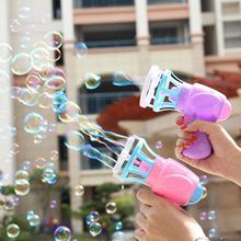 New Bubble Blower Machine Kids Outdoor Toys Summer Funny Magic Electric Automatic Bubble Maker Gun with Mini Fan