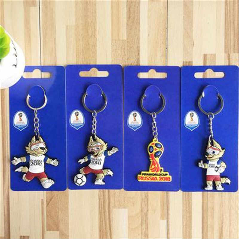 1pcs 2018 Russia World Cup Football Fans Keychains Key ring PVC Peru Sweden Tunisia Senegal Soccer Key Chains Souvenir supply