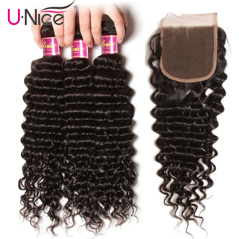 UNice Hair Icenu Remy Hair Series Peruvian Deep Wave Bundles with Closure 4PCS 10 20 Human