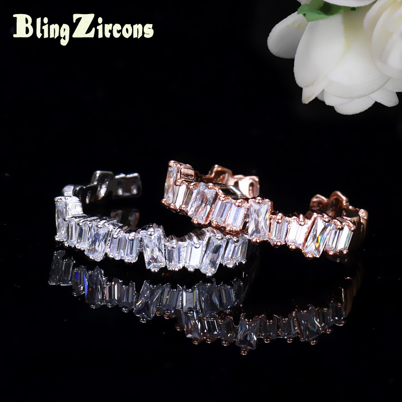 BlingZircons Famous Designer Rectangle AAA Cubic Zirconia Crystals Baguette Ring Rose Gold Color Tibetan Jewelry For Women R035