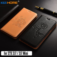 For ZTE Nubia Z17 Case KEZiHOME Fashion Genuine Leather Embossing Flip Stand Leather Cover Capa For