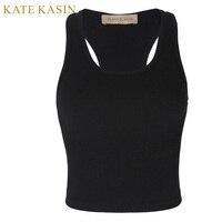 Kate Kasin 2017 T-Shirt Kadın Üstleri Yaz Kırpılmış Gri Aktif Tankı Elastisc Feminino Seksi Spor Halter Üst Kaşkorse Cami Gömlek