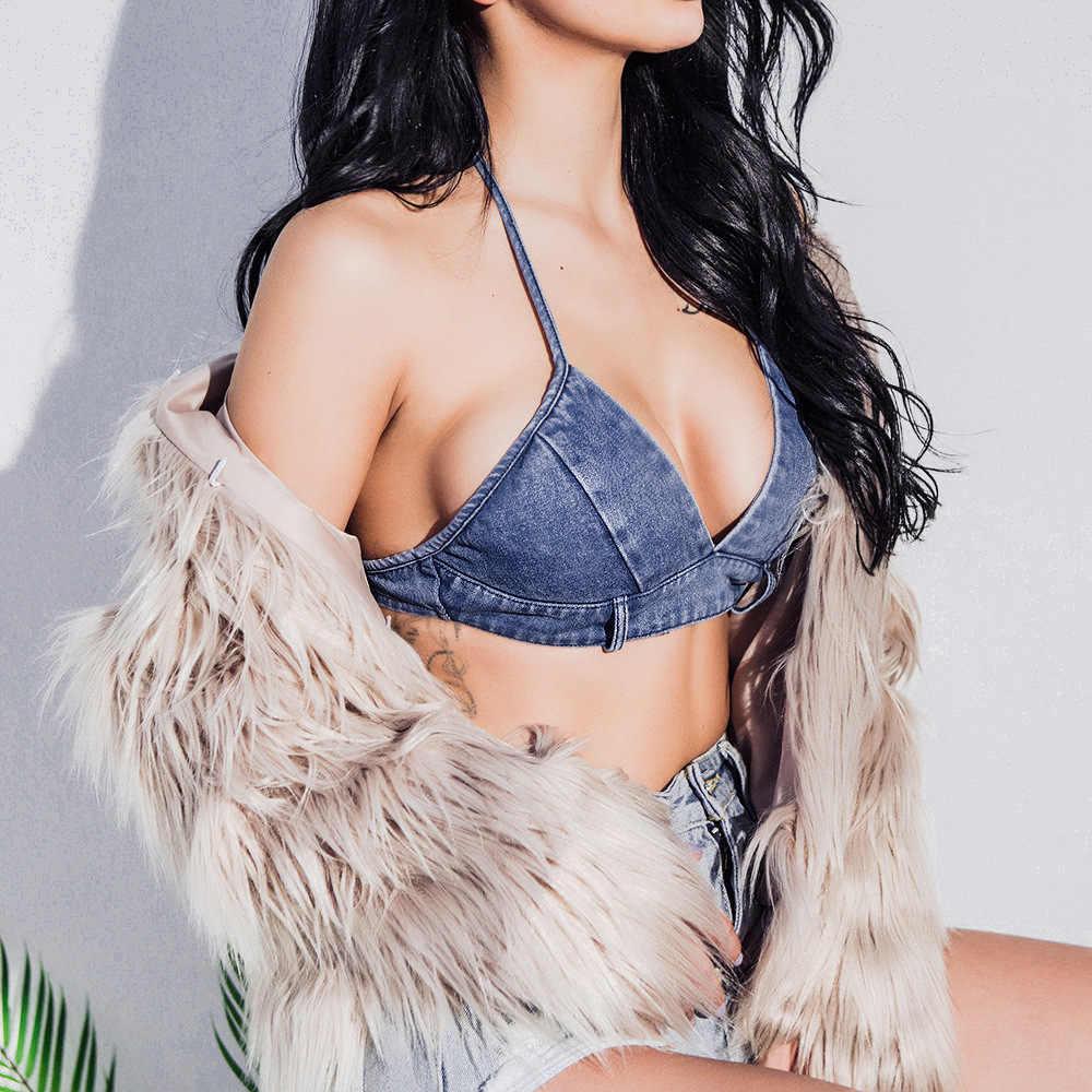 Sexy mujer Chaleco de moda Jean camiseta sin mangas Elsatic camisetas de mezclilla de verano tanque Tops Halter Top fiesta Clubwear