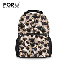 FORUDESIGNS Canvas Travel Backpack For Women Men 3D Pug Huskies Casual Laptop Bags Student School Bag Mochila Escolar Daypacks