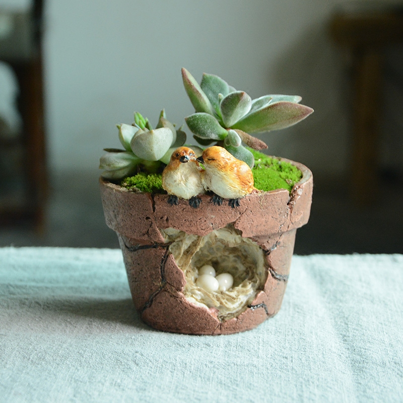 Птичка смолы Цветочные горшки цветочные горшки имитация грубая керамика Peropon сочные садовый декор