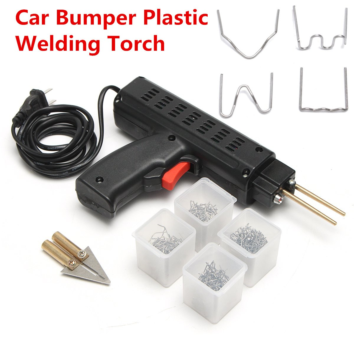 Welding Torch Repair Kit Car Auto Stapler Bumper Plastic Tool+ 200 Staples hot staple gun plastic repair kit staples plastic welding staples welding accessory st 600c