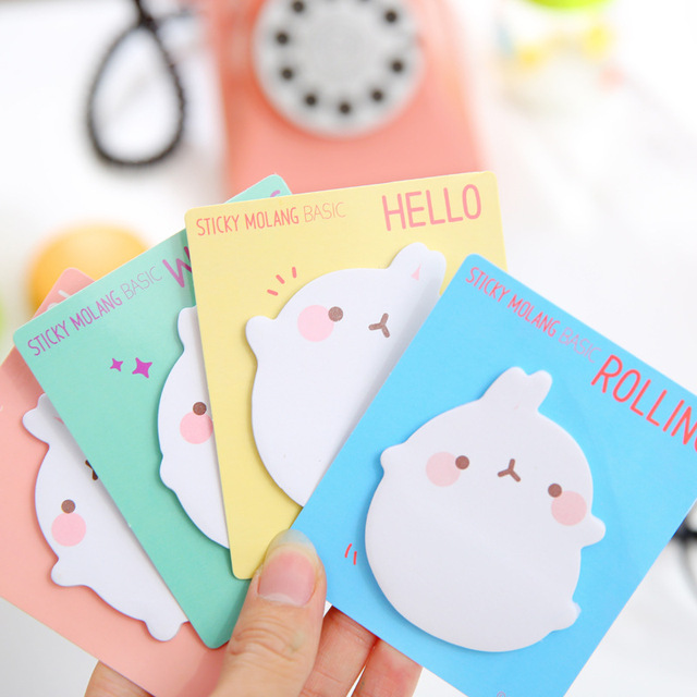 12 stks/partij Leuke Molang Konijn Zelfklevende Memo Pad Memoblokjes Sticker Label Escolar Papelaria School Office Supply