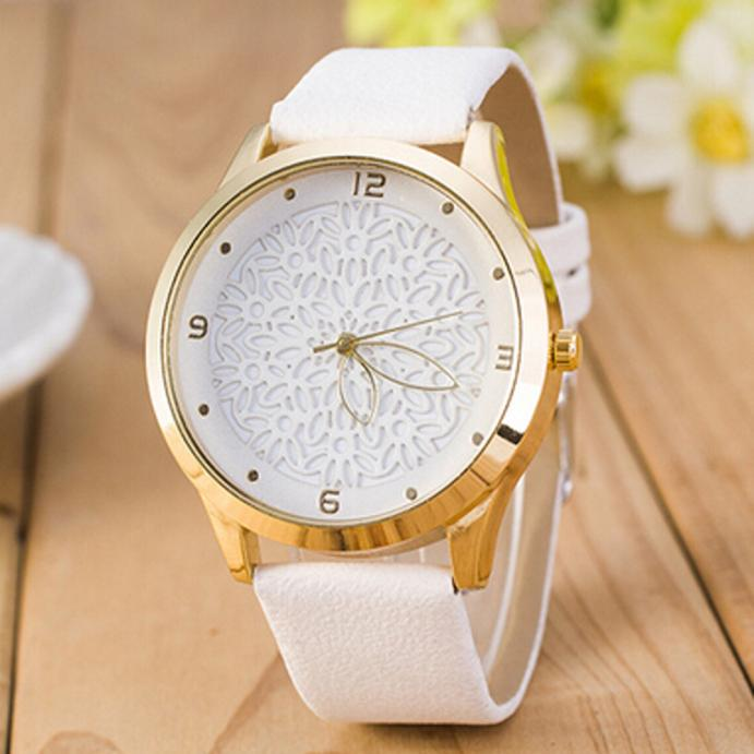 Fashion Women Wrist Watch Creative Design Hollow Flower Dial Ladies Leather Band Quartz Watch Dropshipping Relogio Feminino #20