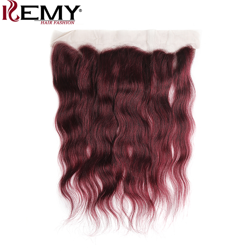99J/Burgundy Brazilian Natural Wave Lace Frontal Closure 13*4 KEMY HAIR 8-20 Inch 100% Human Hair Lace Closure Non-Remy Hair