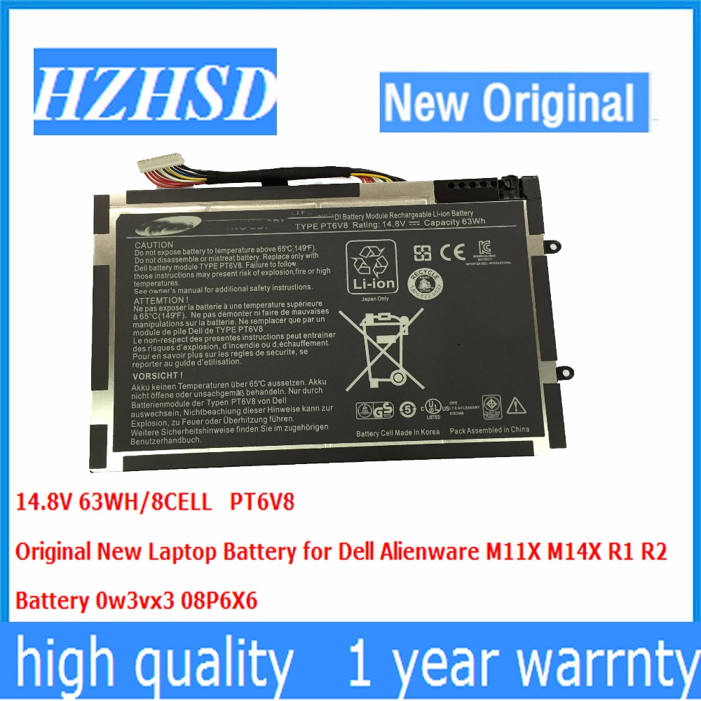 14.8V 63wh New Original PT6V8 Laptop Battery For Dell Alienware M11x M14x R1 R2 R3 8P6X6 P06T T7YJR 08P6X6 KR-08P6X6 14 8v 63wh original new laptop battery for dell alienware m11x m14x r1 r2 battery 0w3vx3 08p6x6 pt6v8