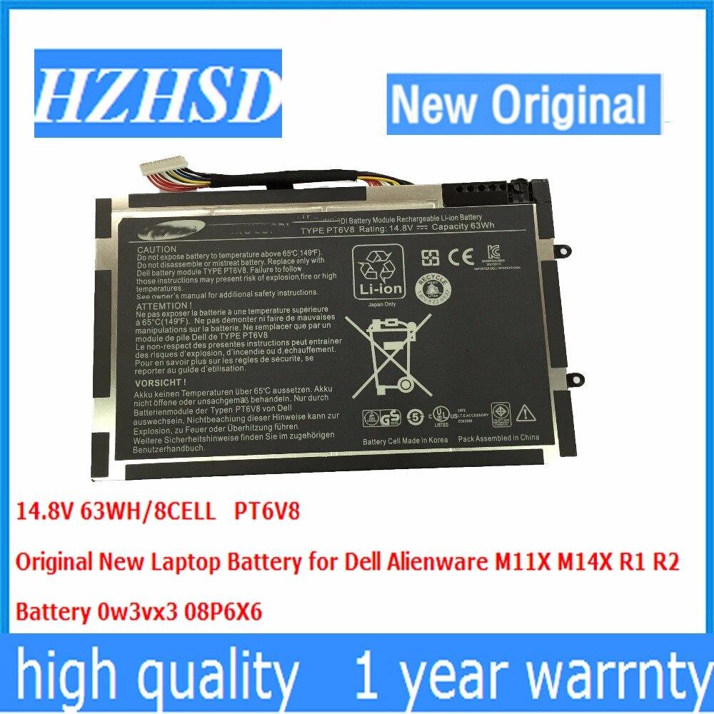 14.8 V 63wh New Original PT6V8 Batterie D'ordinateur Portable Pour Dell Alienware M11x M14x R1 R2 R3 8P6X6 P06T T7YJR 08P6X6 KR-08P6X6