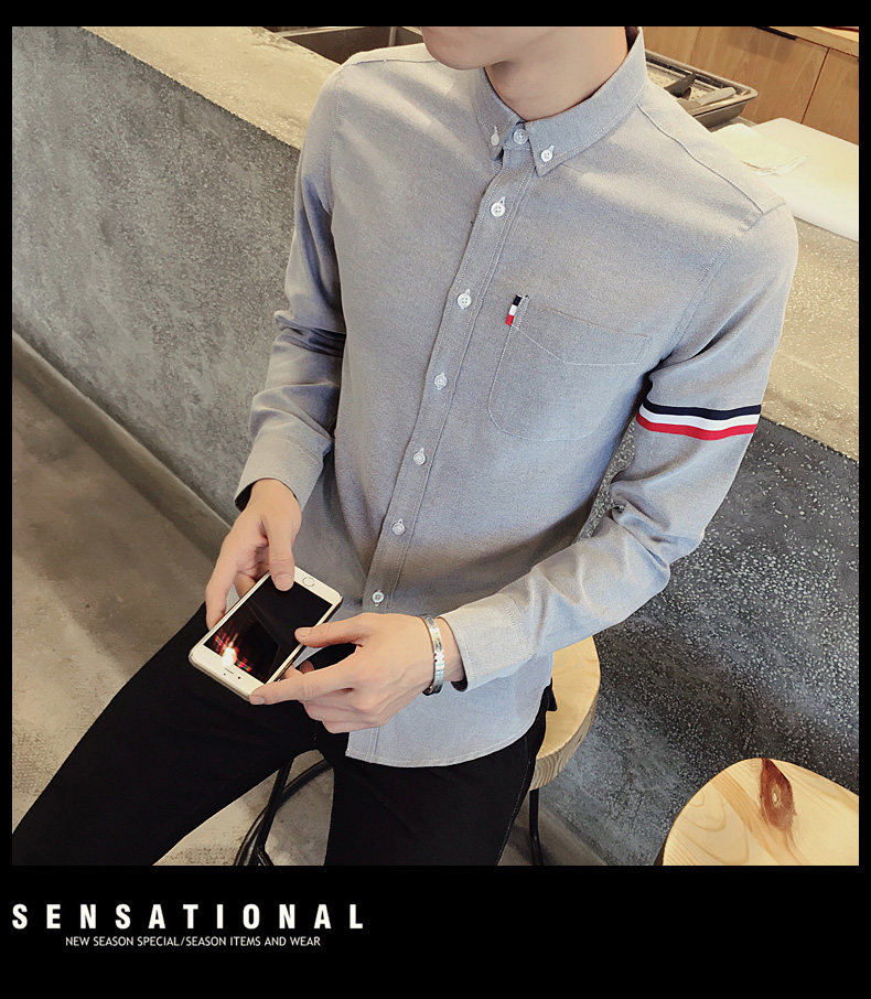 2017 New autumn men's casual tops brand shirt striped Strip decorate cotton men fashion solid color long sleeved Shirts M-XXXL 86