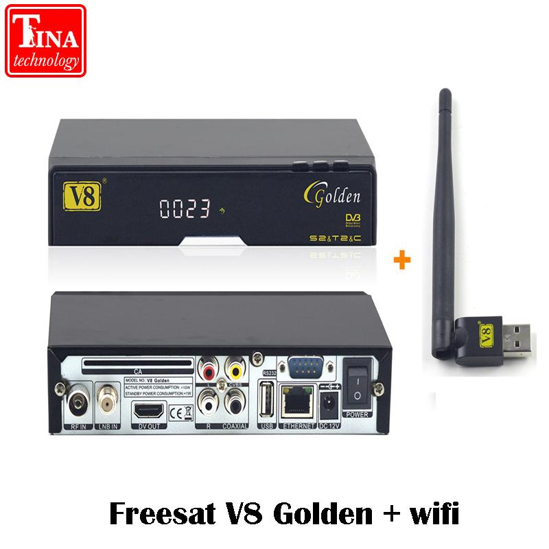 Prix pour Véritable FREESAT V8 Or & USB Wifi DVB-S2 + T2 + C Satellite TV Combo Récepteur Soutien PowerVu Biss Key Cccamd Newcamd USB Wifi