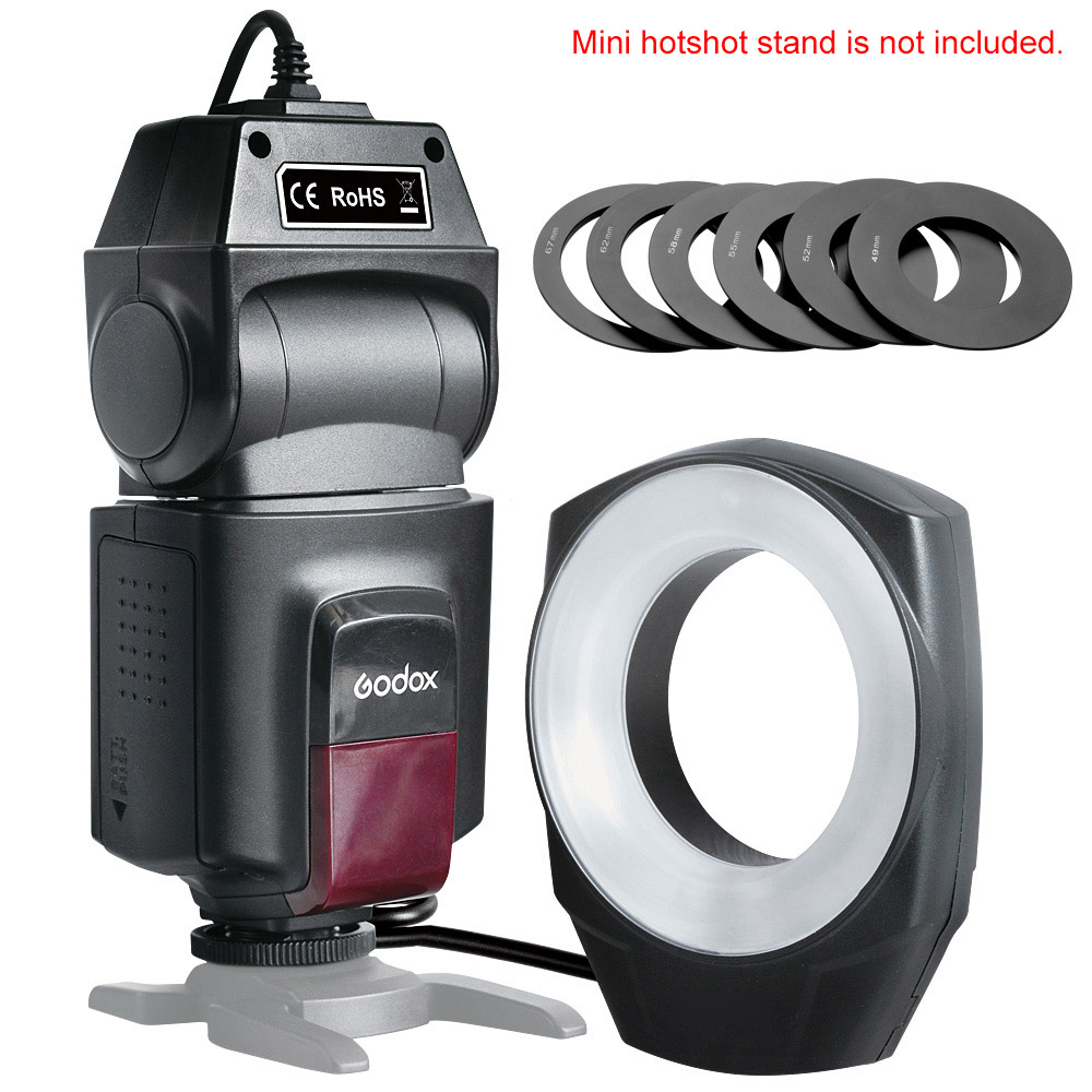 ФОТО Godox ML-150 Macro Ring Flash Light Guide Number 10 with 6 Lens Adapter Rings for Canon Nikon Pentax Olympus DSLR cameras