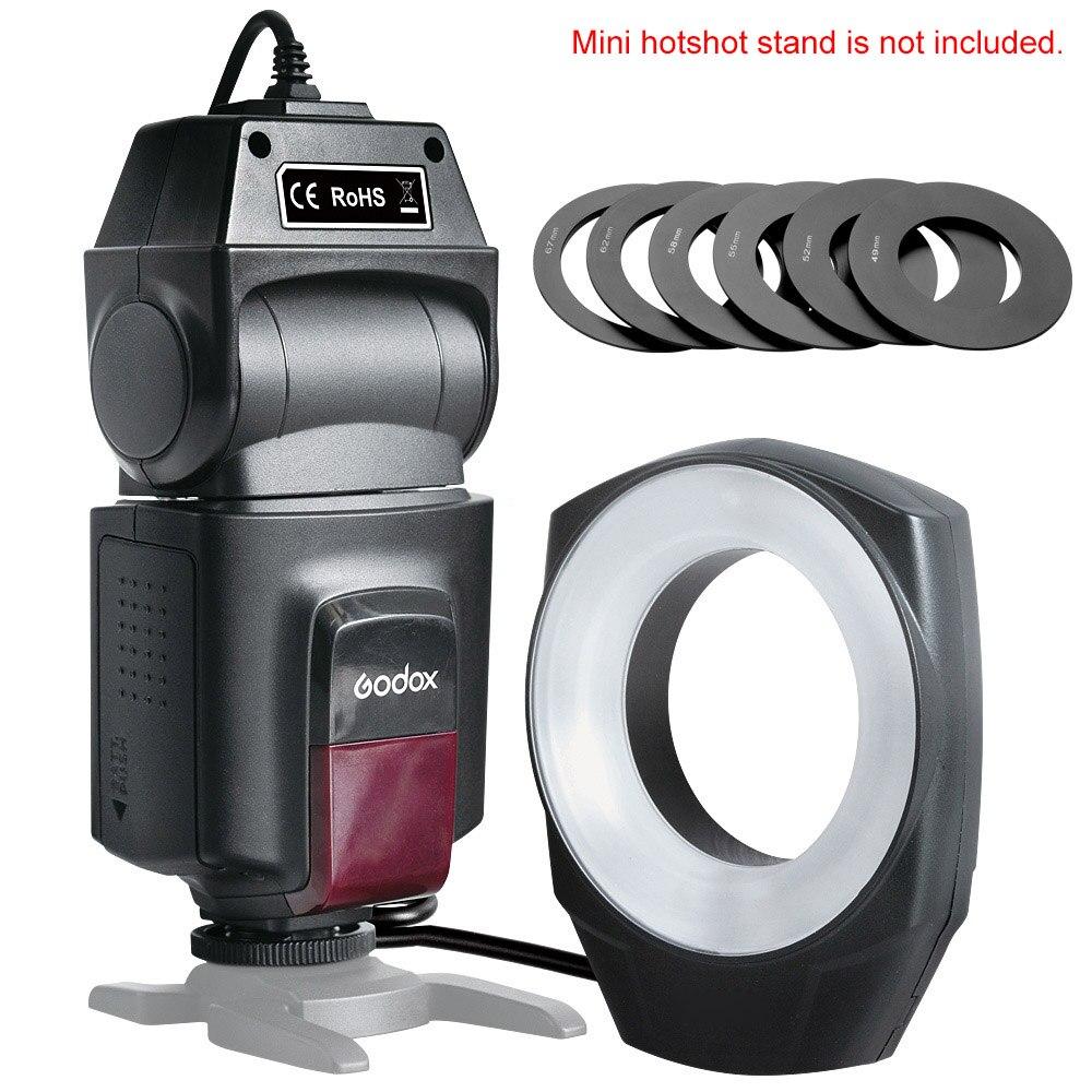 Prix pour Godox ML-150 Macro Ring Flash Light Nombre Guide 10 avec 6 Lentilles de Conversion pour Canon Nikon Pentax Olympus DSLR caméras