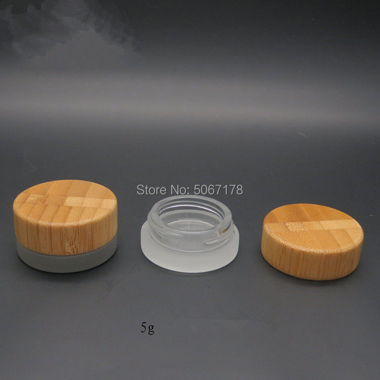 10/30pcs 5g Mini Cosmetic Portable Empty Cream Jar Pot Eyeshadow Makeup Cosmetic Container Glass Bottle With Bamboo Lid