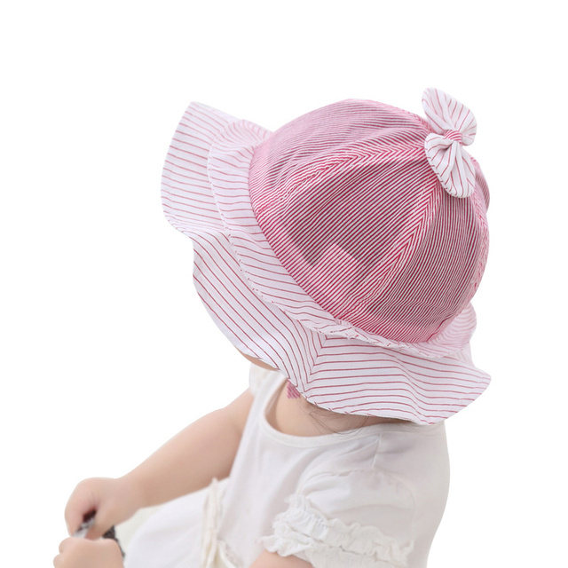 d1455036 Cute Baby Girls Summer Hat Cotton Striped Princess Cap Bowknot Girls Bucket  Hat Spring Summer Baby