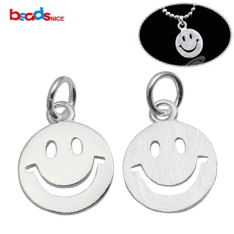 Beadsnice 925 Sterling Silver Smiley Face Charm Pendant Happy Face Charm Handmade Jewelry Findings Bracelet Charms ID 35626