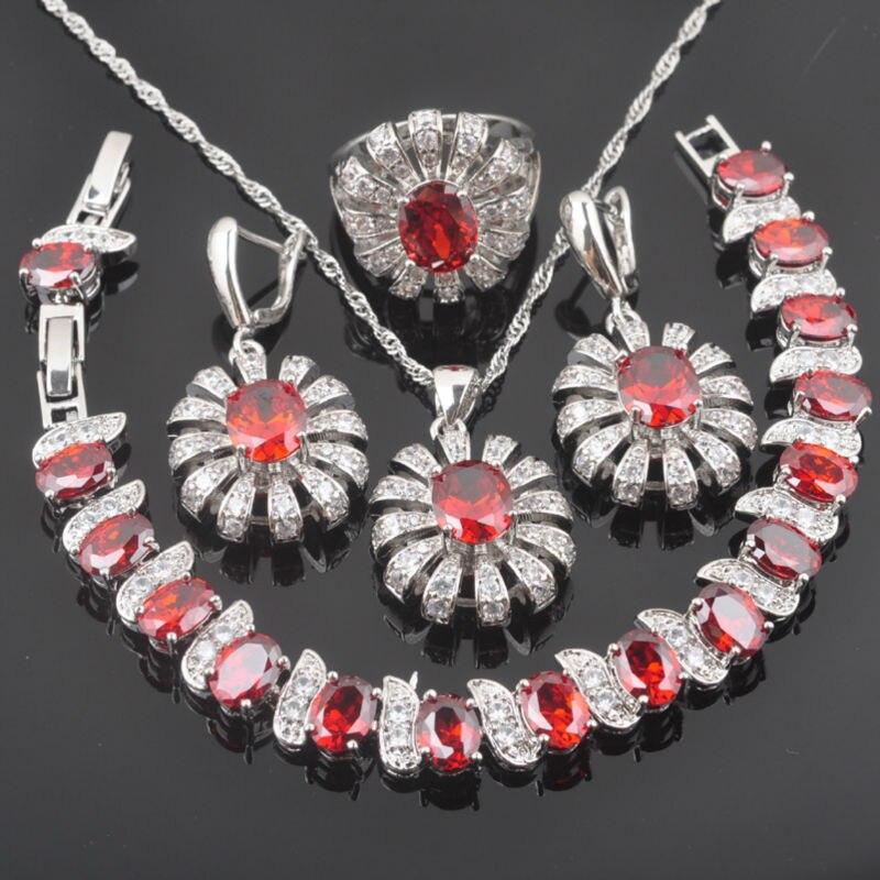 Brautschmuck Sets Fahoyo Roten Zirkonia Blume Design Für Frauen 925 Sterling Silber Schmuck Sets Armband Halskette Anhänger Ohrringe Ring Qs091