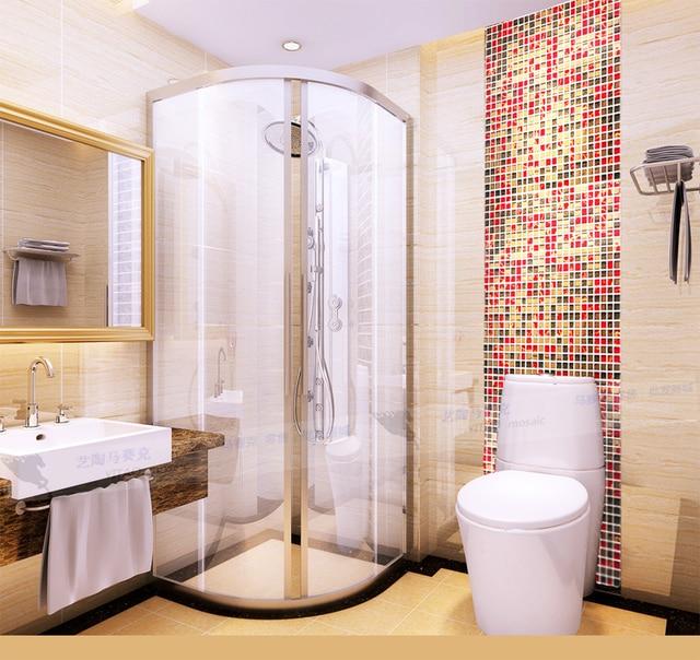 Oro rosso marrone misto piccolo specchio di vetro mosaico - Bagno mosaico rosso ...