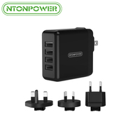 4 Ports USB Charger 5V 6.8A 34W Portable Travel Wall Charger Adapter with EU UK AU Plug Mobile Phone Charger for iPhone Xiaomi