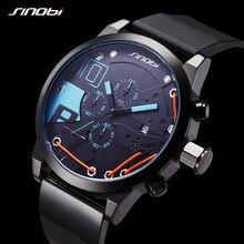 Marca Top SINOBI Men Sport Chronograph Silicone Relogio masculino Relógio À Prova D' Água Relógios Moda Casual relógio de Quartzo dos homens de Luxo