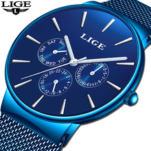 2019 LIGE Mens Watches Top Brand Luxury Waterproof Wrist Watches Ultra Thin Date Simple Casual Quartz Watch For Men Sports Clock fotina casual brand bosck quartz men watch ultra thin waterproof unisex stainless steel women dress ultra thin watches for men