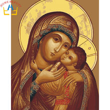 New framed digital oil painting by numbers diy home decoration craft paint on canvas unique gift picture religion mom love JY098(China)