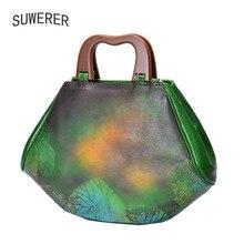 купить SUWERER 2019 New women genuine leather bag Fashion top Cowhide women tote handbags designer  women bags schoudertas dames по цене 7856.78 рублей