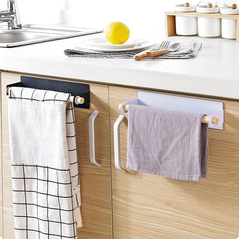 Adhesive Hooks Kitchen Paper towel holder bathroom Shelves wood Iron ...