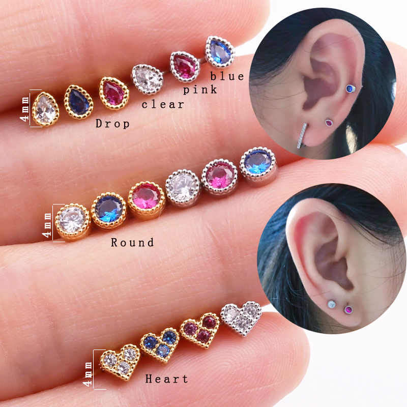 Sellsets 1 Piece Tiny Round Tear Drop Heart Shape With Pink Blue Stone CZ 16G Steel Screw Back Earring Tragus Daith Piercing