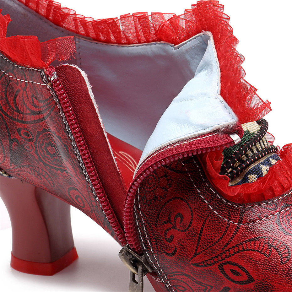 Wine Glasses Women Pumps European Vintage Hand Genuine Leather Shoes Embossed Stitching Spanish Style Four Seasons Women's Shoes (27)