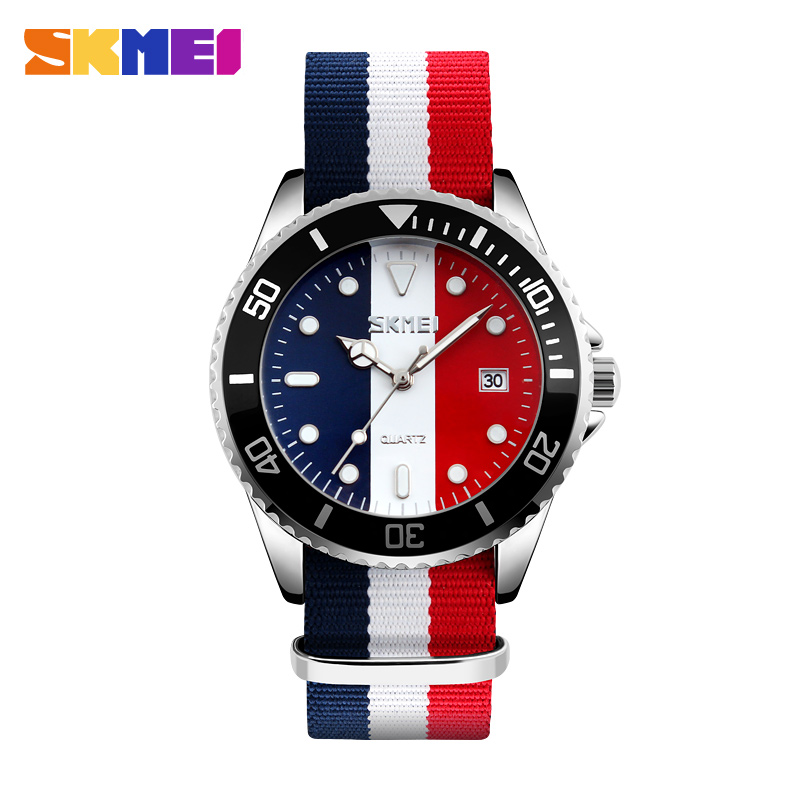 SKMEI Lovers Watches Men And Women Fashion Casual Watch Nylon Strap 30M Waterproof Multiple Colour Quartz Wristwatches