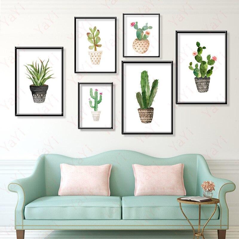 Plantes vertes nordiques salon décoration peinture toile Dessin ...