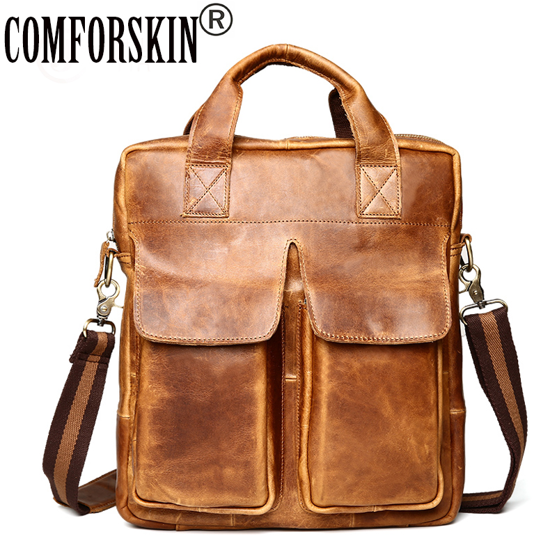 COMFORSKIN Luxurious Genuine Leather Men Totes Handbag New Arrivals Retro Men Cross-body Bags Fashion Casual Male Messenger Bag