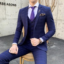 3 Pieces Suit Vest Navy Classic Plaid Mens Suits With Pants Slim Fit Formal Wedding For Men Set formal Dress Costume Homme