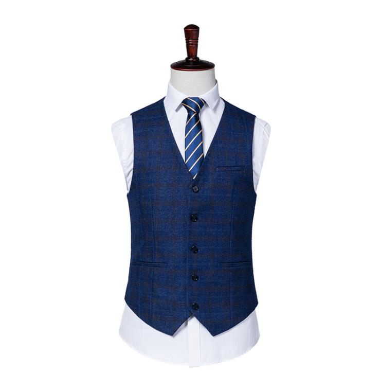 Mesure Fit Same As veste Gilet Bleu Hommes Suit Costume Picture D'affaires 2019 Plaid Sur Mariage Maigre De Rayé Smoking Mode Pantalon p4qSZ