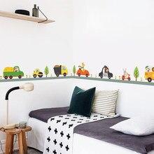 Мультяшные милые животные автомобильные наклейки на стену Дети Мальчики нутри спальня Талия линия diy наклейки на стену Декор роспись детск...