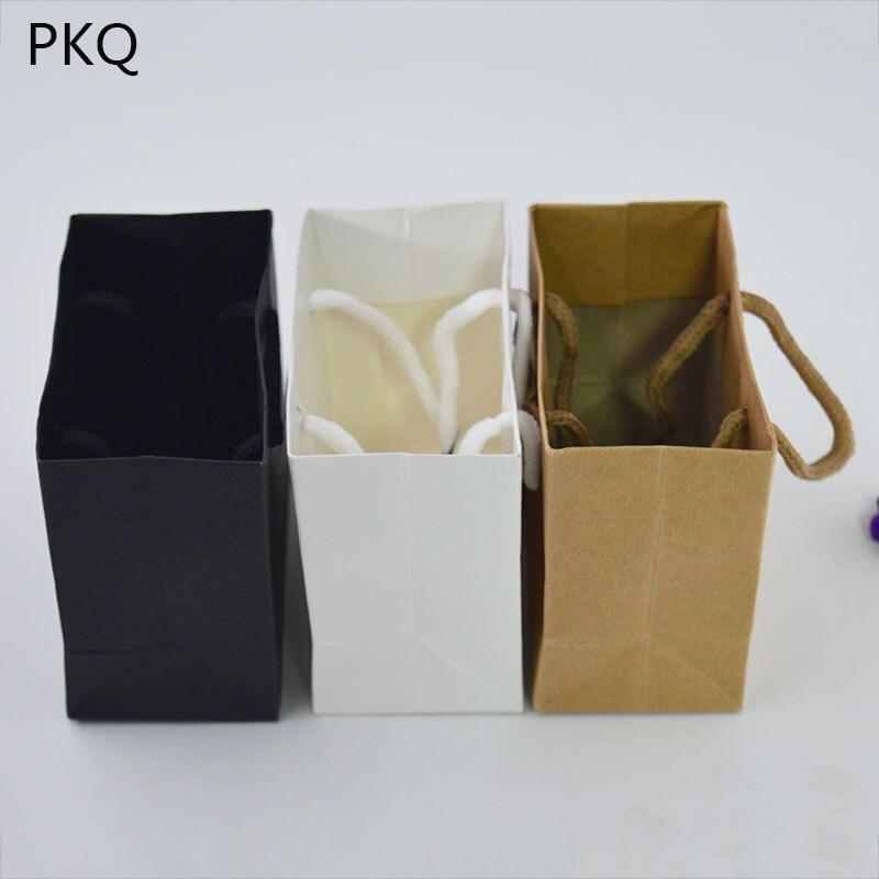 Image 3 - 50 Uds bolsa de regalo blanca de 3 tamaños con asa negra/bolsa de  papel Kraft marrón para empaquetar bolsas pequeñas de joyería Rosa  bolsa de fiesta regaloEnvoltorios y bolsas de regalo