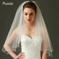 Fashion Ivory/White 2 Layers Short Wedding Veil With Comb Tulle Bead Edge Bridal Veil Velo De Novia Wedding Accessories FV52