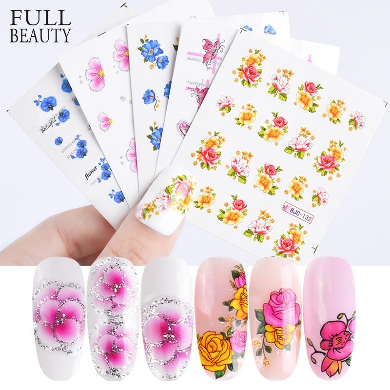 Full Beauty 55pcs Flower Glitter Nail Sticker Water Transfer Decal ...