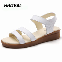 HKOVAL Women Sandals Genuine Leather Sandals Casual Flats Fashion Female Shoes Summer Comfortable Ladies Shoes Soild beyarne summer sandals female handmade genuine leather women casual comfortable woman shoes sandals women summer shoes