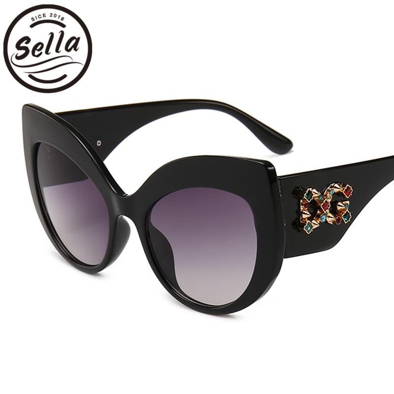 Sella lujo marca Oversized mujeres Cateye gafas de sol Venta caliente señoras Rhinestone decoración marca diseñador gafas de verano desgaste