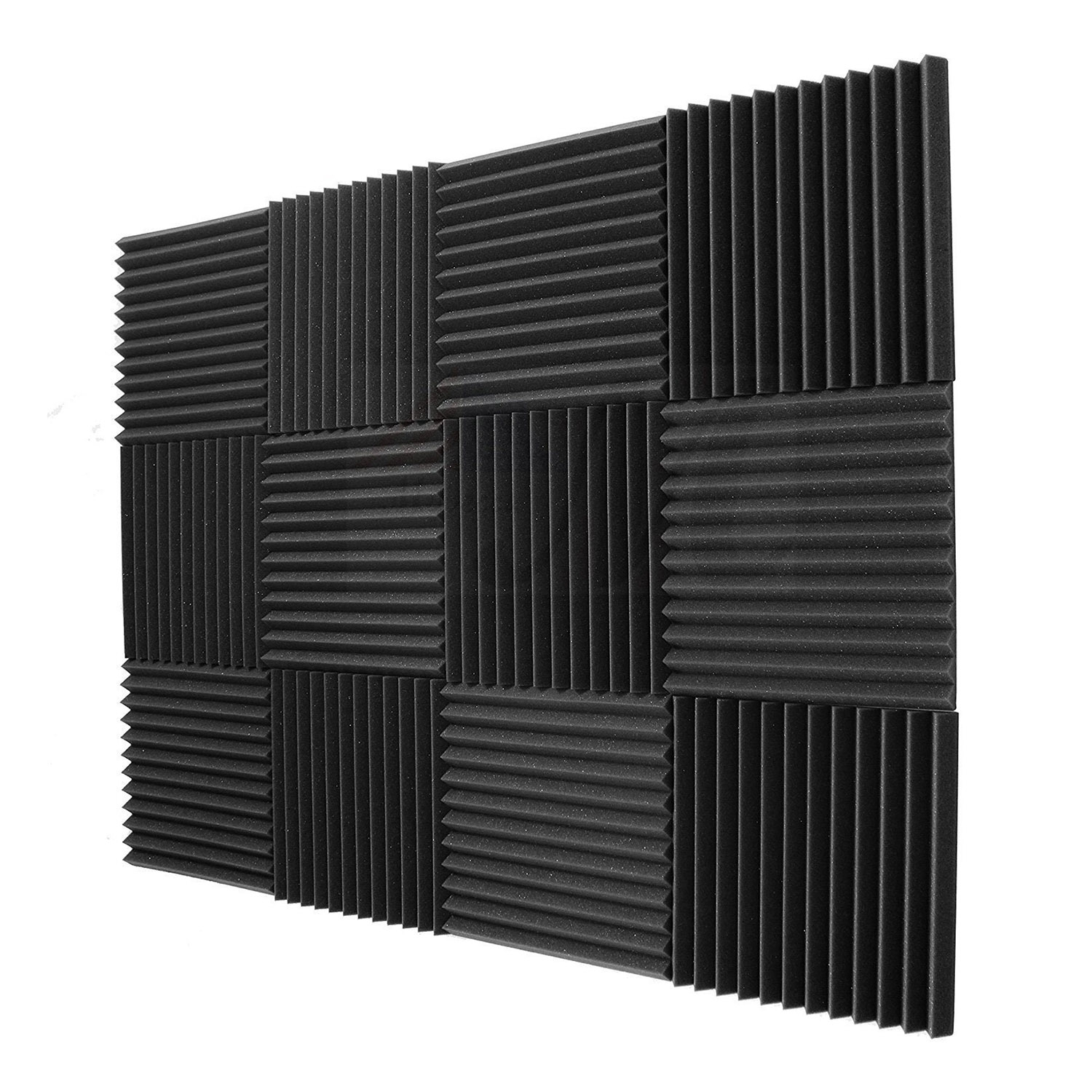 HOT-12 Pack- Acoustic Panels Foam Engineering Sponge Wedges Soundproofing Panels 1inch X 12 Inch X 12inch