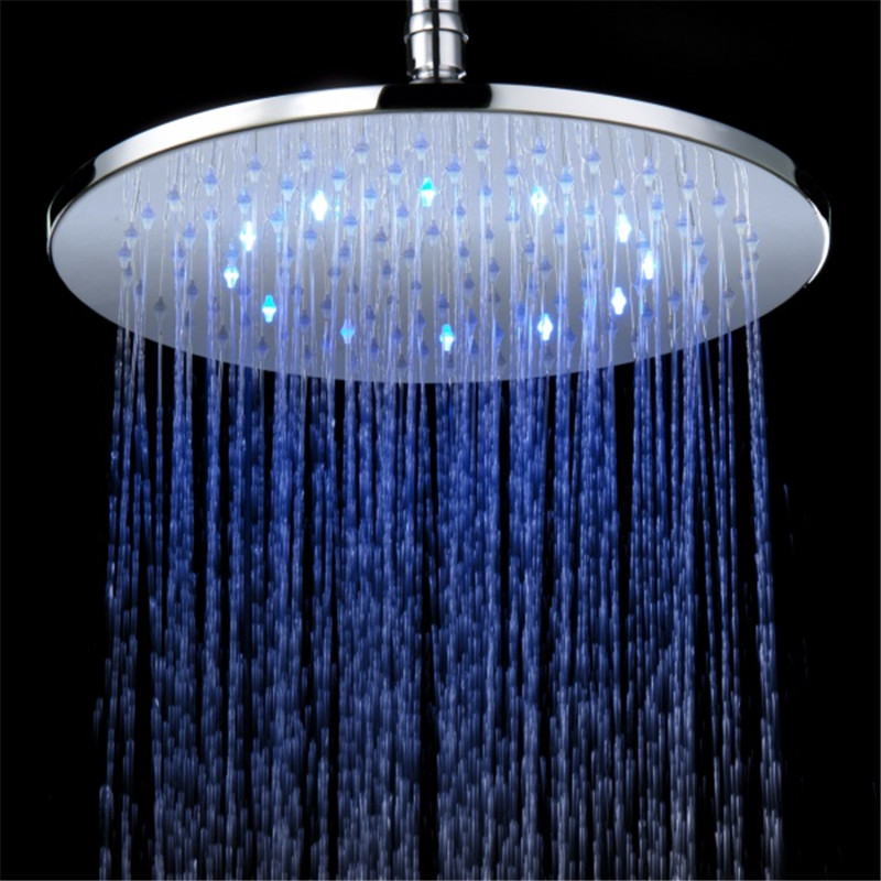 Big Led Shower Head 12inches RGB /7Color Changing Shower Head Round Light Shower Head LED LD8030-B7 shending ld8008 a9 temperature sensor rgb light changing 15 led handheld shower head silver